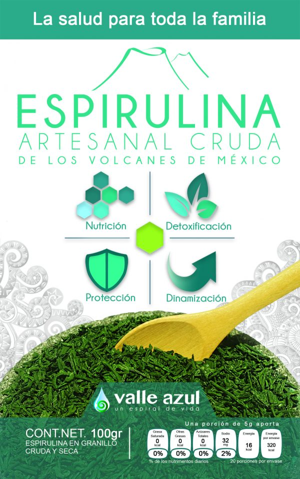 Espirulina artesanal cruda de los volcanes de México
